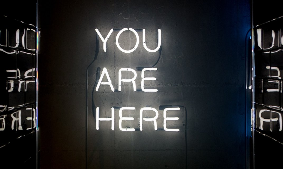 You are here in neonletters.