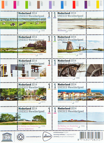 Nieuwe postzegels tonen de Nederlandse Werelderfgoederen