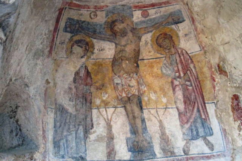 Matera, mural on rupestrian church of San Nicola dei Greci, Sol Luna, 13thc. (Foto: CC/Flickr.com | Julianna Lees)
